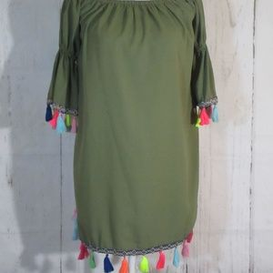 Boho Tassel Tunic Shift Dress NWT